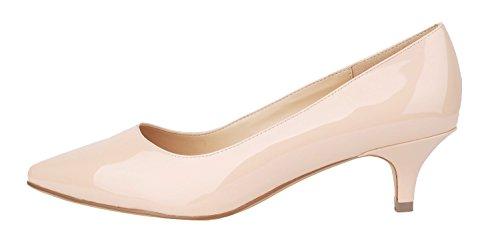 Verocara Women's 1.77inch Kitten Heel Pointy Toe Genuine Leather Evening Dress Pumps Nude PU 12 B(M) US