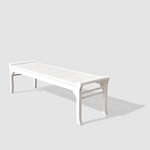 Bradley Eco-friendly 5-foot Backless Outdoor White Wood Garden Bench