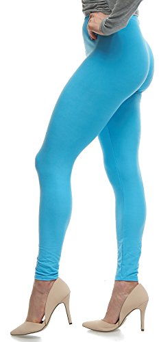 Lush Moda Women's Basic Leggings - Extra Soft and Variety of Colors - Aqua (80s Spandex Leggings)