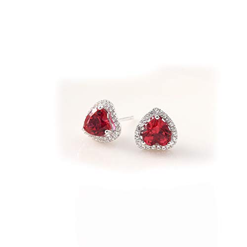 (Lab Created Ruby Gemstone Earring Studs Hearts Shape 6x6mm Sterling Silver Studs Women's Engagement Earring)