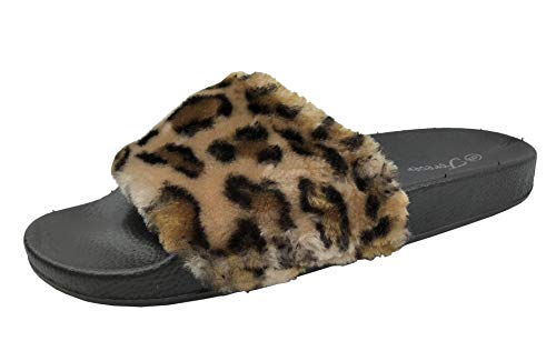 (Wells Collection Women's Willow Faux Fur Soft Slides Flat Slippers Flip Flop, Leopard, 6.5)