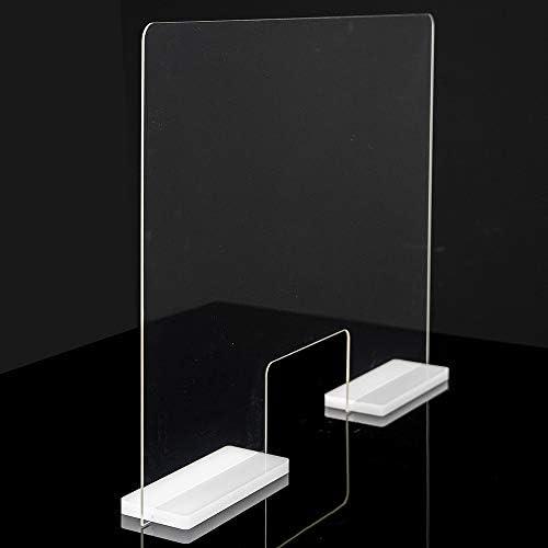 GRUPO ZONA | Mampara de Protección | Metacrilato | Transparente | Soporte con Vinilo Color Plata | Modelo Milán | 5 mm de Grosor | Buena Estabilidad | Automontable | Incluye Soportes de 20 mm |80x60cm: Amazon.es: Oficina y papelería