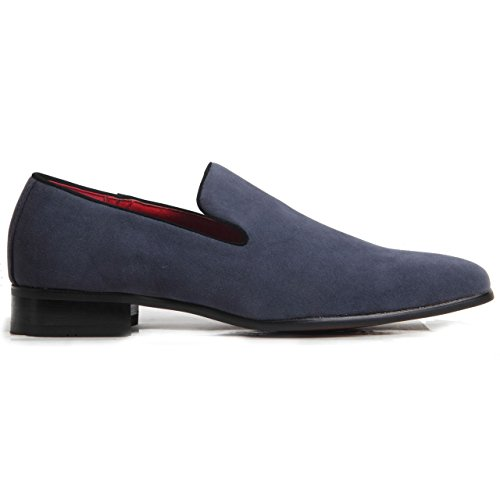 Collezione Italiana Men Fashion Loafers Slip on Patent Suede Wedding Party Shoes Black White red Navy Penny Loafers. Suede Navy K2Mrd