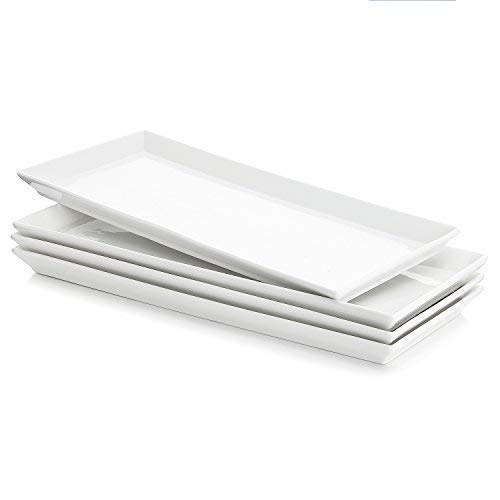 Sweese 3303 Rectangular Porcelain Platters/Trays for Parties - 12.9 Inch, Set of 4 ()