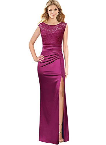 VFSHOW Womens Fuchsia Ruched Ruffles Floral Lace Patchwork Formal Evening Wedding Prom Maxi Dress 1882 PUP XL
