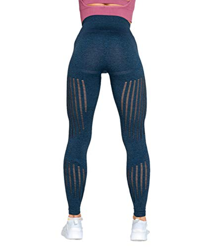 Redqenting Women's High Waist Seamless Leggings Ankle Yoga Pants Squat Proof Tights Blue