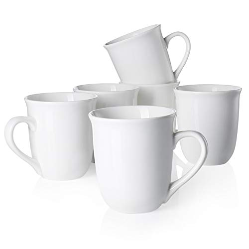 (Teocera Porcelain Mugs, Coffee mug Set - 14 oz for Coffee, Tea, Cocoa and Mulled Drinks - White - Set of)
