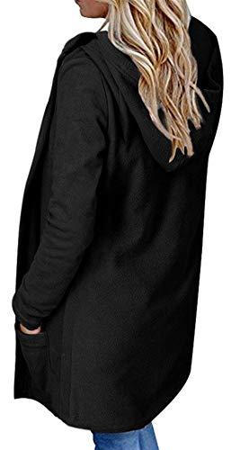 Transición Bolsillos Sólido Cardigan Relaxed Color Elegantes Largo Schwarz De Retro Manga Casuales Abrigo Abierto Otoño Largas Encapuchado Adelina Mujer Con Primavera WnwqTAZHp