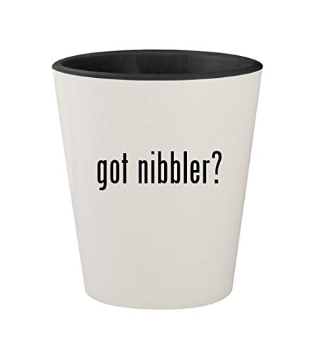 got nibbler? - Ceramic White Outer & Black Inner 1.5oz Shot Glass