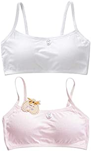 MEQUER Seamless Training Bra with Removable Padding, Girl's Comfort Flex Fit Seamless Racerback 2-Pack(Pin