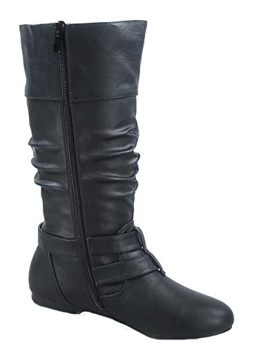 Image of FZ-Sonny-54 Women's Stylish Round Toe Buckle Zipper Slouchy Mid-Calf Riding Boots Shoes