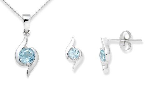 Miore - Parure Collier et Boucles d'Oreille Femme - Topaze bleue
