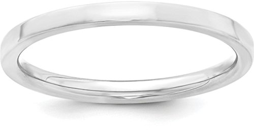 Satin Band Sterling Silver Ring (Sterling Silver 2mm Plain Flat Classic Comfort-fit Wedding Band - Size 6.5)
