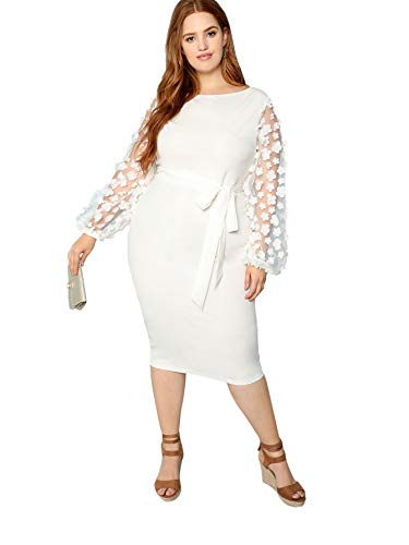 SheIn Women's Plus Size Elegant Mesh Contrast Pearl Beading Sleeve Stretchy Bodycon Pencil Dress White 3X-Large