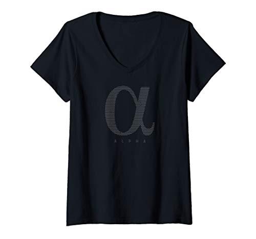 (Womens Alpha t shirt; Cool Alpha t shirt; Alpha Sign t shirt V-Neck)