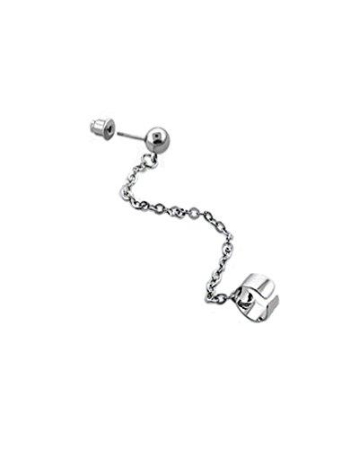 Silver-tone Stainless Steel Bead Ball Slave Chain Ear Cuff (Slave Earring)