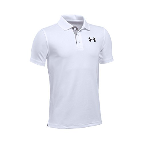 Under Armour Boys' Match Play Polo, White/Black, Youth Large