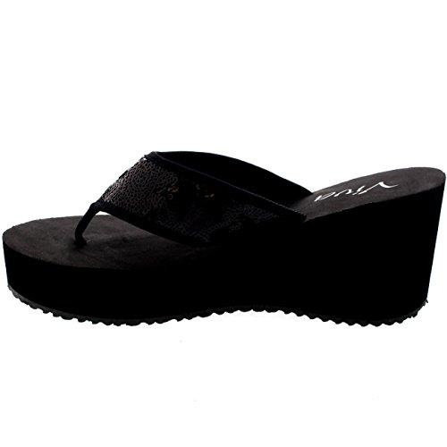 Mujer Lentejuelas Fiesta Chanclas Ponerse Plataforma Cuña Sandalias Negro