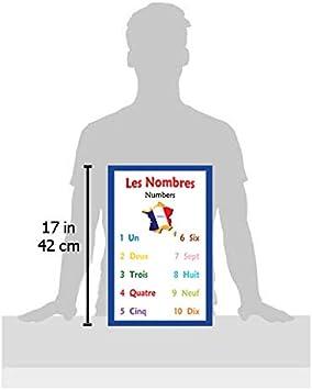 Poster scolaire en langue fran/çaise Tableau avec chiffres en fran/çais pour d/écoration de salle de classe par Long Bridge Publishing