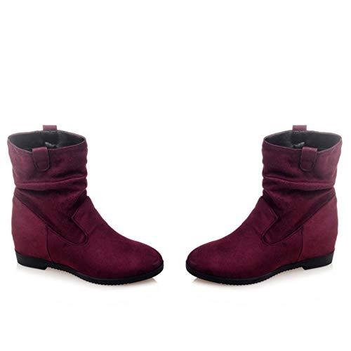 Casual Claret Boots Women Coolcept Wedge Heel Short 7cUwW5qRf
