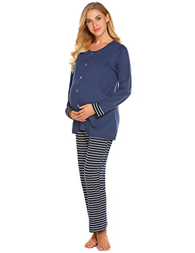 Ekouaer Womens Maternity Pregnancy Sleepwear Set Nursing Breastfeeding Pajamas,Bnavy Blue,Large