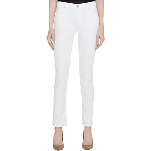 7 For All Mankind Womens Skinny Slim Fit Cigarette Jeans White 28
