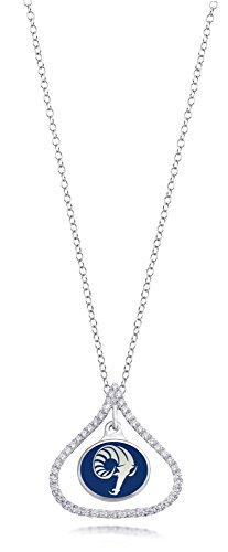 Rhode Island Rams Kiss Style Sterling Silver and CZ Necklace by College Jewelry