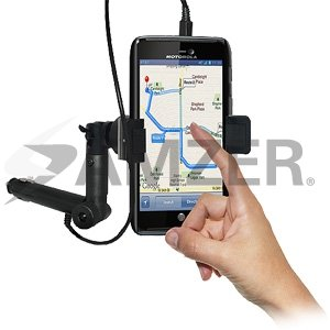 Black Amzer AMZ94742 Lighter Socket Phone Mount with Charging and Case System for Motorola ATRIX HD MB886 Retail Packaging