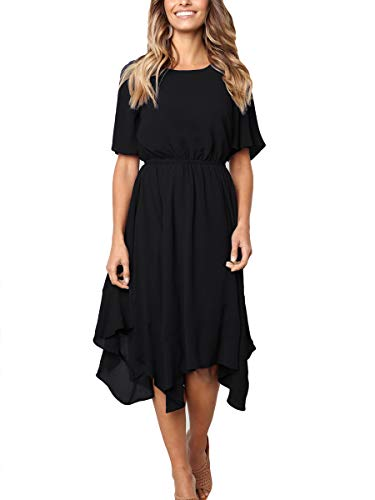 Bolomi Womens Asymmetrical Handkerchief Dress Irregular Hem Short Sleeve Midi Dress #1Black -