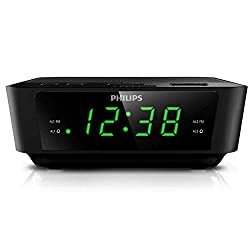 PHILIPS Digital Alarm Clock Radio for Bedroom FM Radio, LED Display, Easy Snooze, Sleep Timer, Battery Back up (Batteries Sold Seperately)