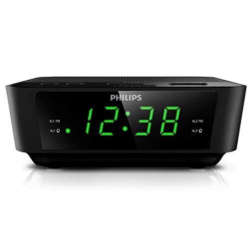 PHILIPS Digital Alarm Clock Radio for Bedroom AM/FM Radio, LED Display, Easy Snooze, Sleep Timer, Battery Back up