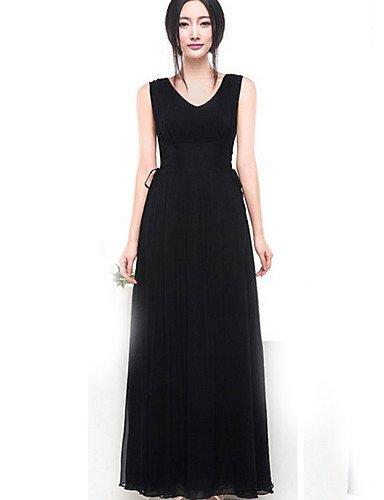 PU&PU Robe Aux femmes Gaine Street Chic,Couleur Pleine Col Arrondi Maxi Coton / Polyester , black-m , black-m