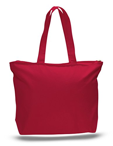 Zip Top Heavy Canvas Tote Bag with Bottom Gusset, Red, Set of 1