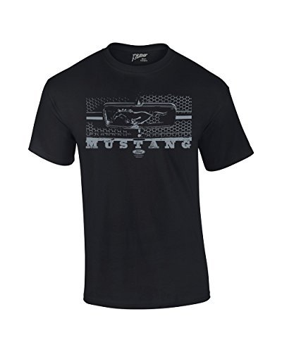 Ford T-Shirt Mustang Grill Legend Honeycomb Grill and Emblem-Black-Lar