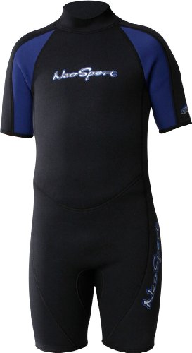 NeoSport Wetsuits Youth Premium Neoprene 2mm Youth's Shorty, Blue Trim, 4 - Diving, Snorkeling & Wakeboarding