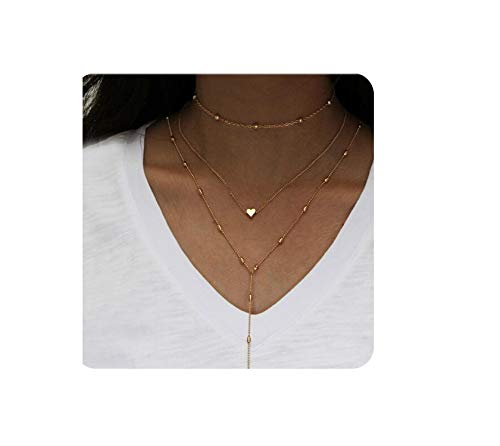 Fashion Jewelry Gold Color Heartklaces Excellent Women Multiple Layers Chain Necklaces,X20