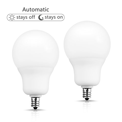 Light Sensor E12 Candelabra Base Bulb, JandCase Dusk to Dawn LED Bulbs 50W Equivalent, 6W, 500lm, Soft White 3000K, A19 Automatic Indoor/Outdoor Lights for Home, Porch, Hallway, Not Dimmable, 2 Pack