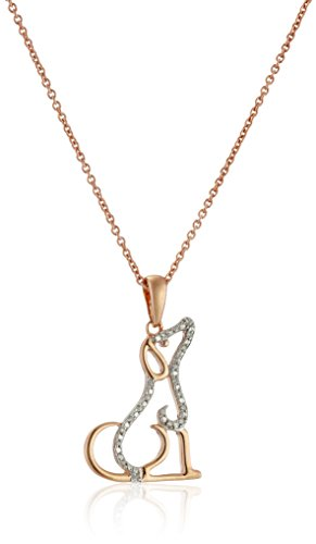 14K Rose Gold over Sterling Silver Diamond Accent Dog Pendant Necklace, 18