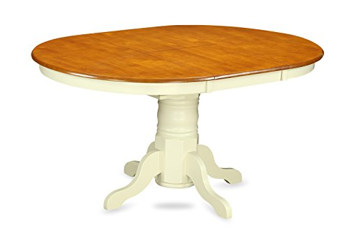 East West Furniture KET-WHI-TP Oval Dining Table with 18-Inch Butterfly Leaf (Oval Extendable Table)