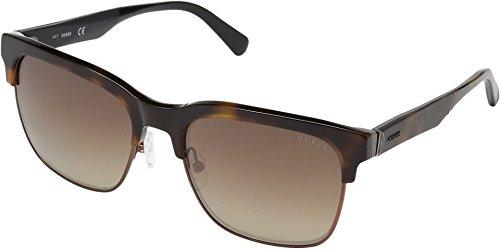 GUESS Men's Gu6912 Wayfarer Sunglasses, Dark Havana & Brown Mirror, 58 (Guess Prescription Sunglasses)