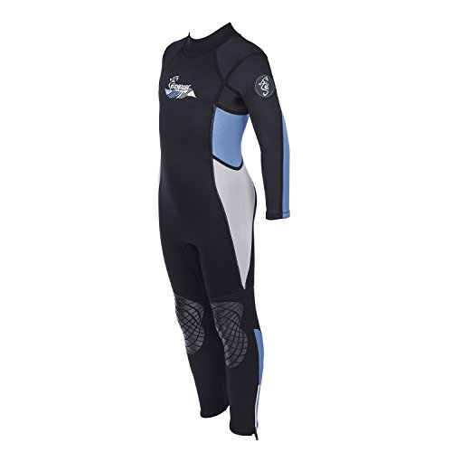 Seavenger 3mm Kids Full Body Wetsuit with Knee Pads for Surfing, Snorkeling, Swimming (Pearl Blue, (Pearl Rubber Skin)