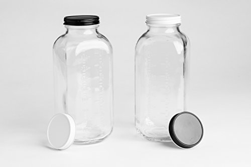 Glass Milk Bottle With 2 Extra Leak Free Lids and Measuring Marks Vintage Jugs 32 Ounces (Set of 2) Made in ()