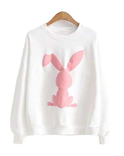 - XVOVX Young Lady Children Girls Narwhal Unicorn Thin Cotton Long Sleeve Pullover Hoodie Jacket with Drawstrings (Free Size, Rabbit White)