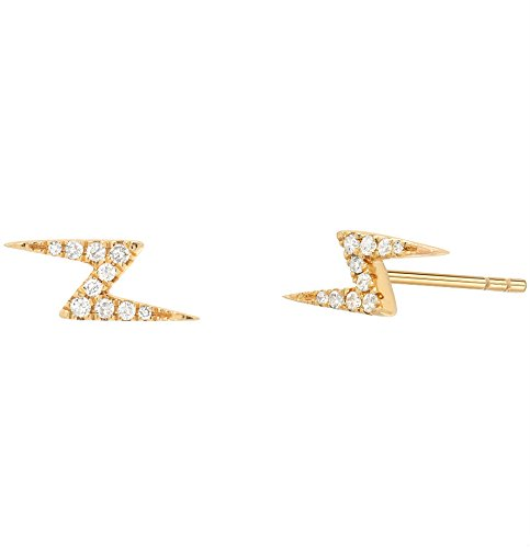 5156cc023 Amazon.com: Diamond lighting bolt stud earrings, Zoe Lev Jewelry ...
