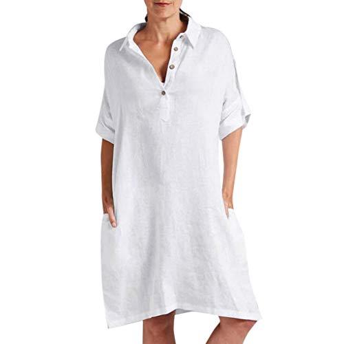 ZSBAYU Womens Summer Casual Beach Dress Short Sleeve Irregular Loose Linen Maxi Dress Strap Shift Mini Dress with Pocket(White,L)