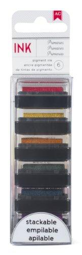 American Crafts 6-Pack Mini Decorative Stamp Set, Primaries (American Crafts Date Stamp)