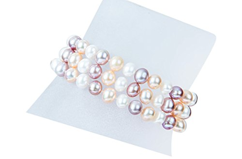 Multi-Color Triple Strand Freshwater Pearl Bracelet 6-7mm