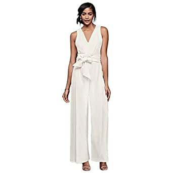 David's Bridal Surplice Bodice Crepe Jumpsuit with Wide Sash Style KS161221JS, Ivory, XS