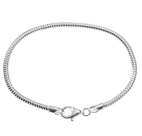 925 Sterling Silver Charm Bracelet 3mm Snake Chain 7 inch fit All Charm Beads for Women Girls Gifts SS294-2