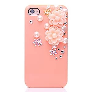 Pearl Flower Pattern Metal Jewelry Back Case for iPhone 4/4S